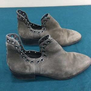 Gianni Bini Taupe Suede Leather Eyelet Ankle Boots